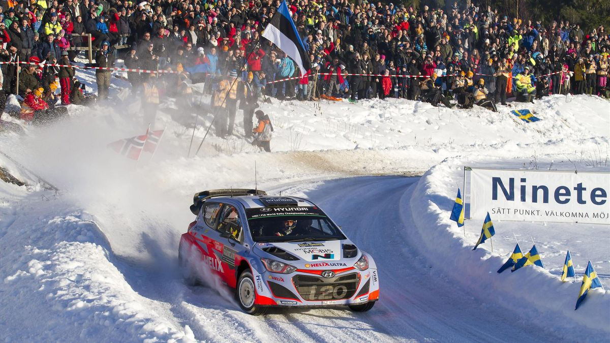 Thierry Neuville and Nicolas Gilsoul of Belgium drive their Hyundai i20 WRC on SS17 Hagfors Sprint during the Rally Sweden (Reuters)