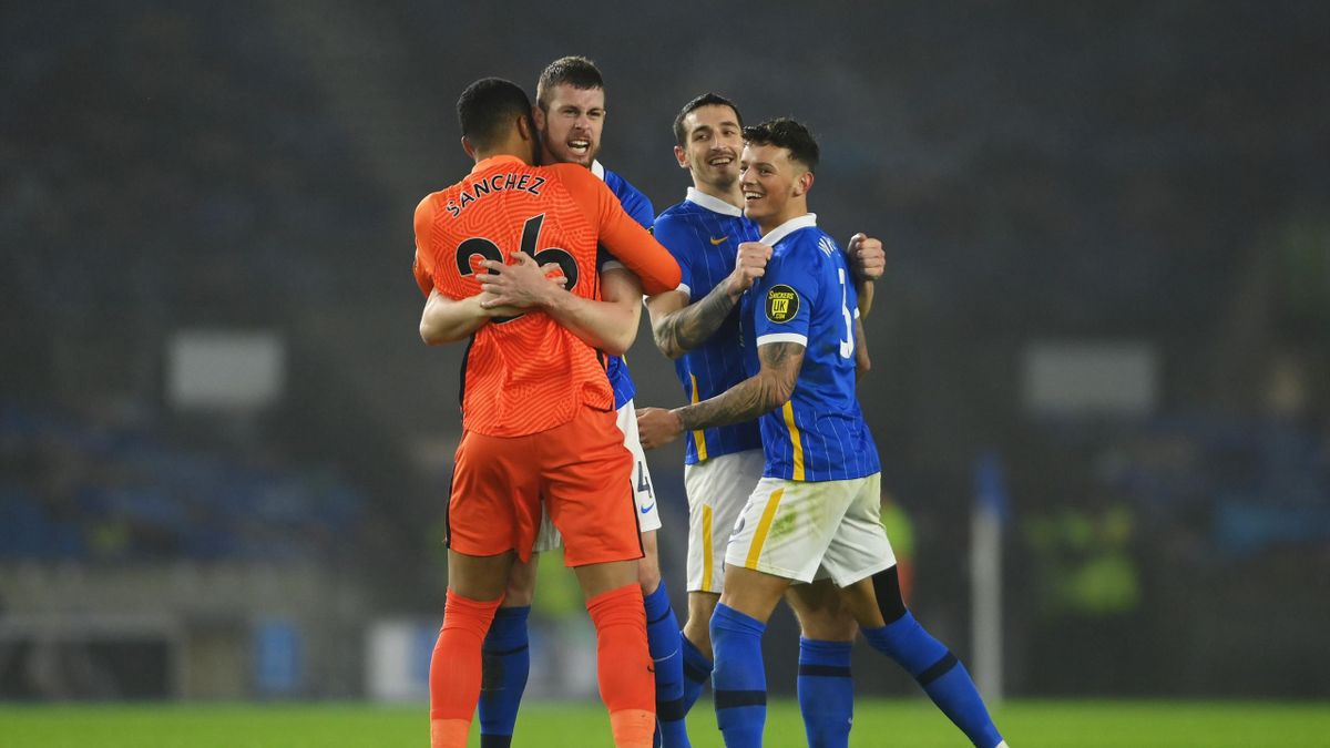 Robert Sanchez, Adam Webster, Lewis Dunk and Ben White of Brighton & Hove Albion celebrate victory following the Premier League match between Brighton & Hove Albion and Tottenham Hotspur