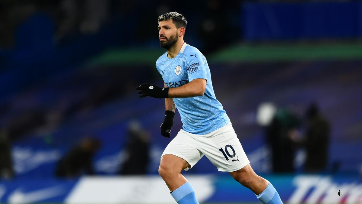 Sergio Aguero of Manchester City during the Premier League match between Chelsea and Manchester City at Stamford Bridge on January 03, 2021 in London, England. The match will be played without fans, behind closed doors as a Covid-19 precaution.