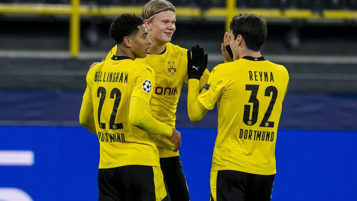 Erling Haaland, Giovanni Reyna und Jude Belingham vom BVB