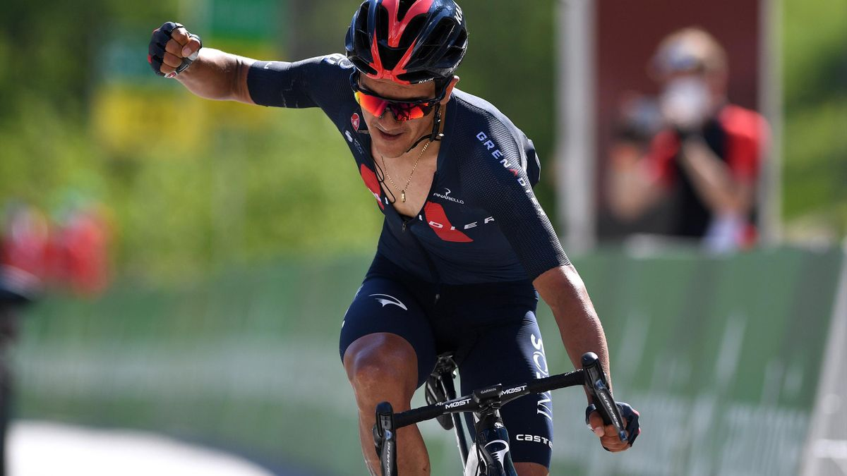 Richard Carapaz of Ecuador and Team INEOS Grenadiers celebrates at arrival during the 84th Tour de Suisse 2021, Stage 5