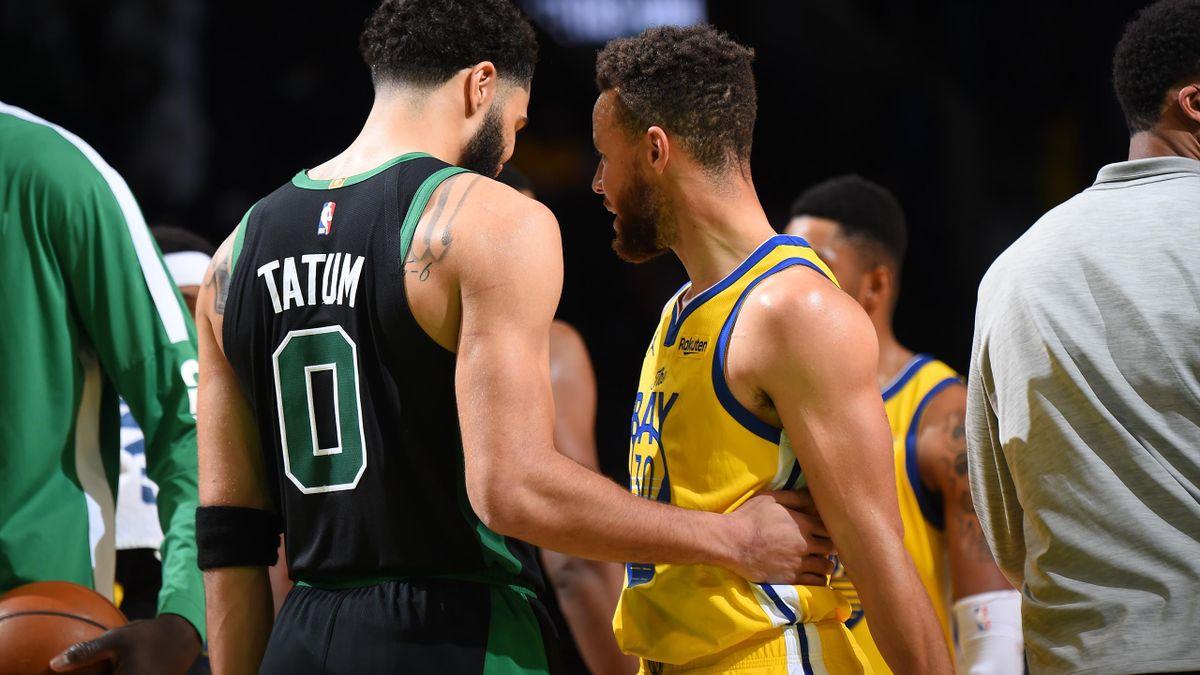 Jayson Tatum (Celtics) et Stephen Curry (Warriors) ont livré une belle bataille, remportée par le premier