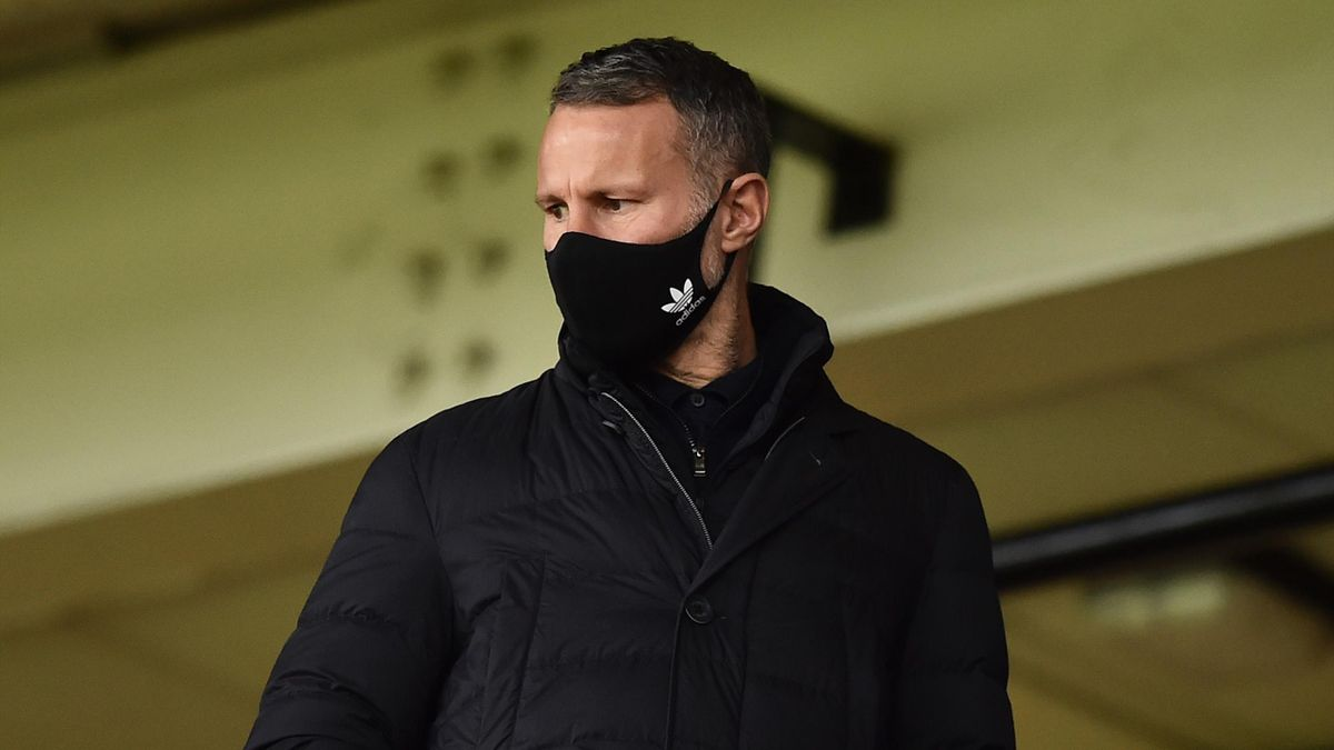 Ryan Giggs co owner of Salford City and Wales manager look on in the stands during the Sky Bet League Two match between Port Vale and Salford City