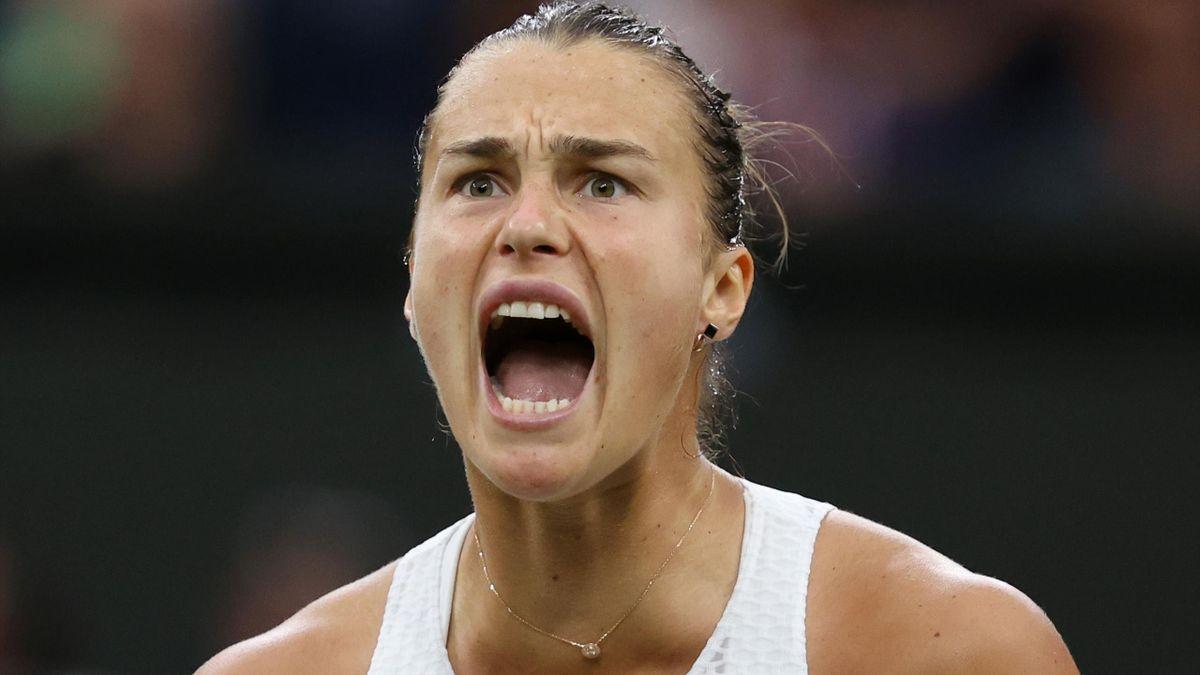 Aryna Sabalenka of Belarus celebrates in her Ladies' Singles Quarter-Final match against Ons Jabeur