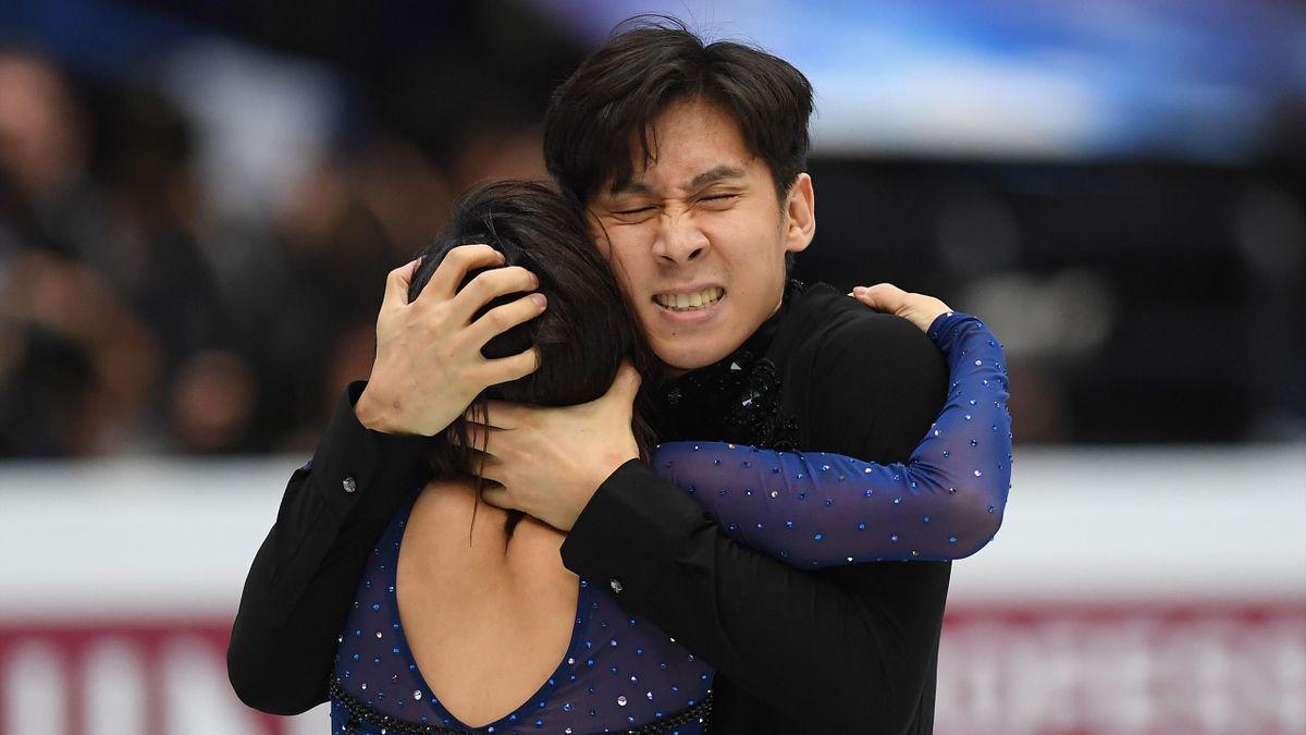 Wenjing Sui and Cong Han of China celebrate after the Pairs free skating during day 2 of the ISU World Figure Skating Championships 2019 at Saitama Super Arena on March 21, 2019 in Saitama, Japan