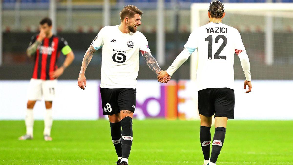 Yusuf Yazici et Xeka lors de la victoire lilloise à San Siro (3-0).