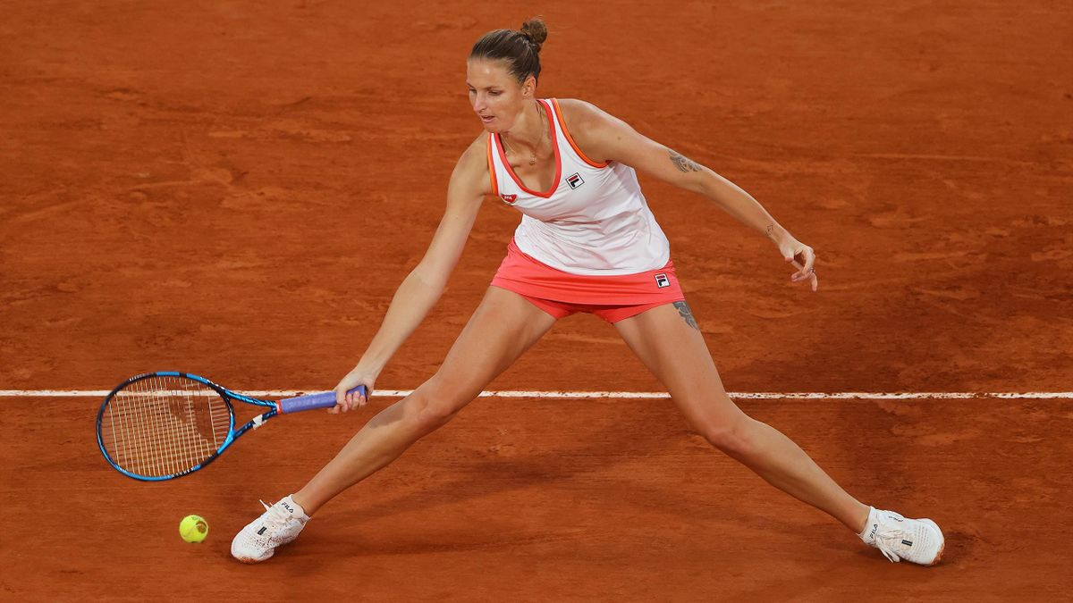 Karolina Pliskova of Czech Republic plays a forehand during her Women's Singles second round match against Jelena Ostapenko of Latvia on day five of the 2020 French Open at Roland Garros