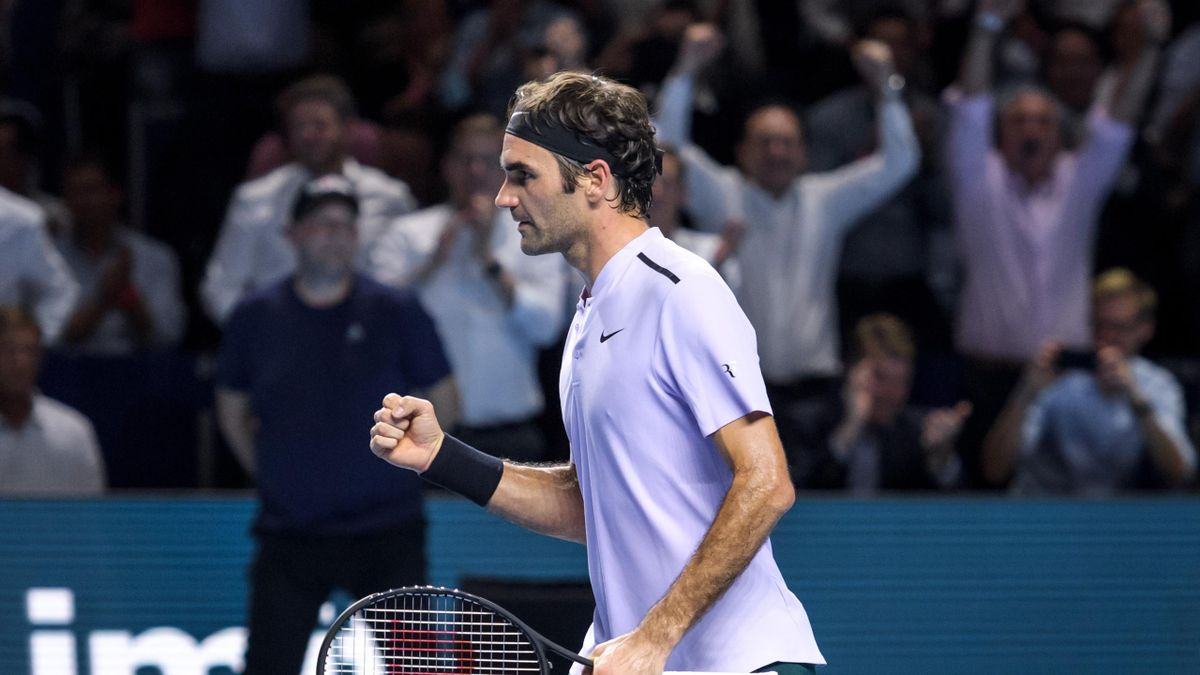Switzerland's Roger Federer celebrates his victory against France's Adrian Mannarino during their quarter-final game at the Swiss Indoors ATP 500 tennis tournament on October 27, 2017 in Basel.
