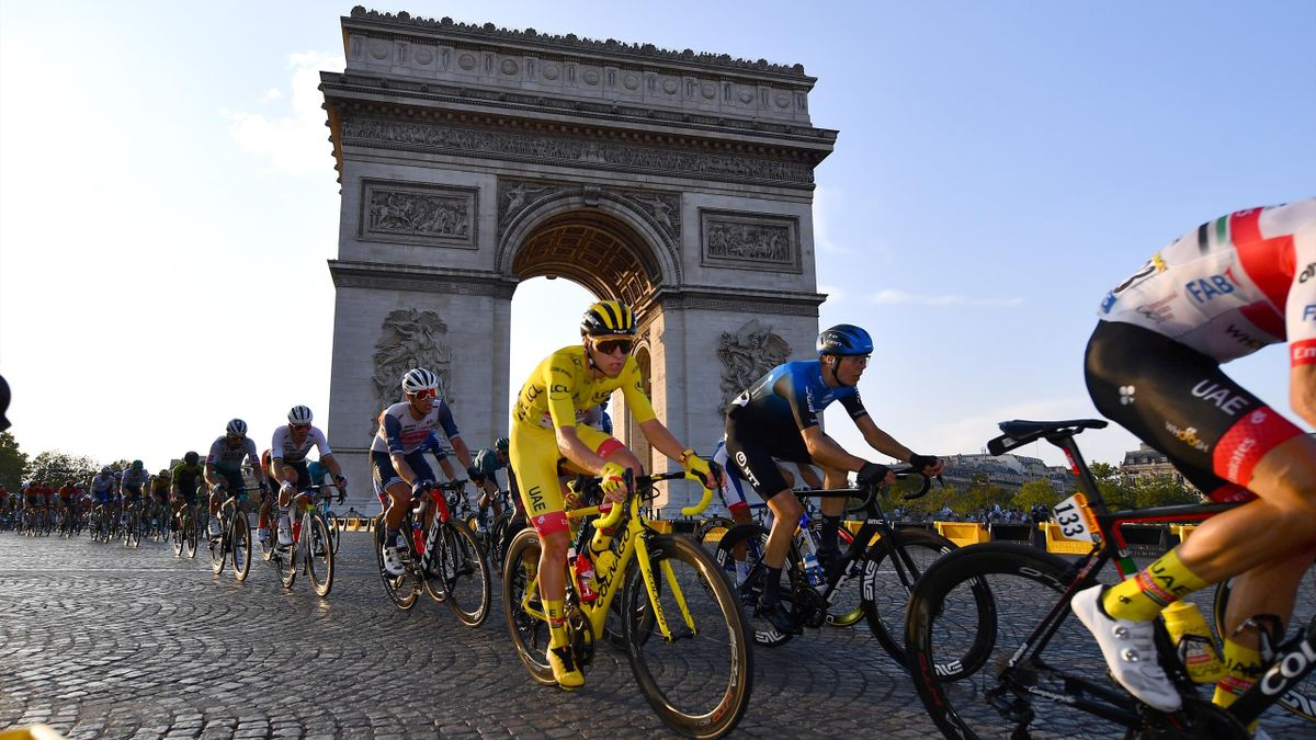 Tadej Pogacar of Slovenia and UAE Team Emirates Yellow Leader Jersey / Arc De Triomphe / Paris City / Peloton / during the 107th Tour de France 2020, Stage 21