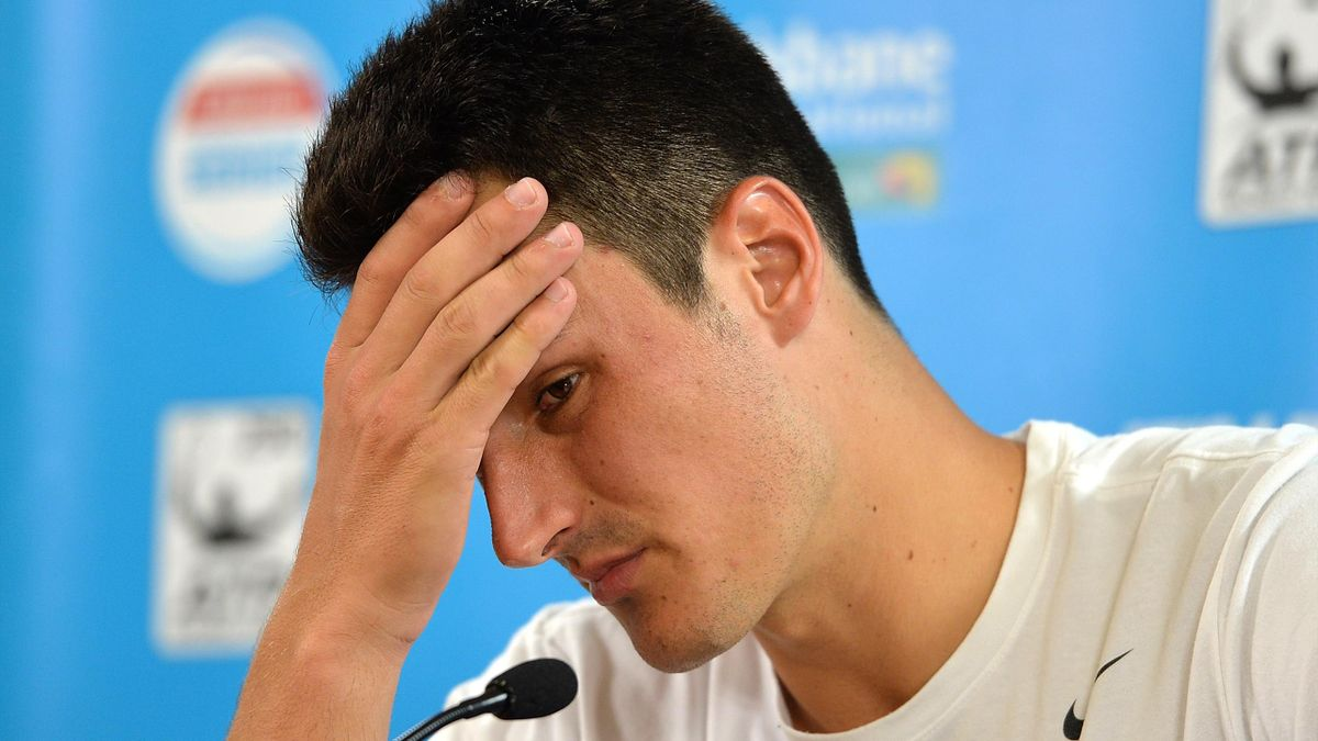 Bernard Tomic of Australia looks dejected after speaks at a press conference after his match against David Ferrer of Spain on day two of the 2017 Brisbane International at Pat Rafter Arena on January 2, 2017 in Brisbane, Australia.