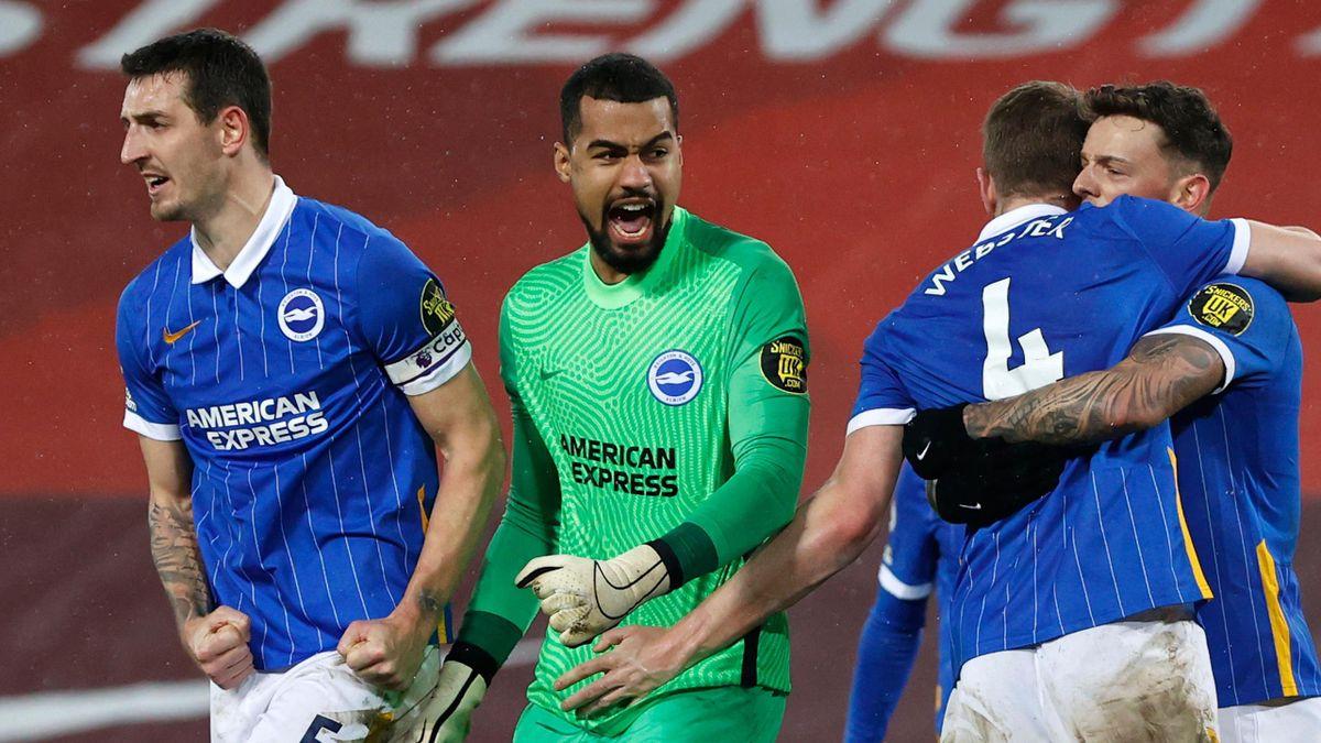 Brighton celebrate beating Liverpool