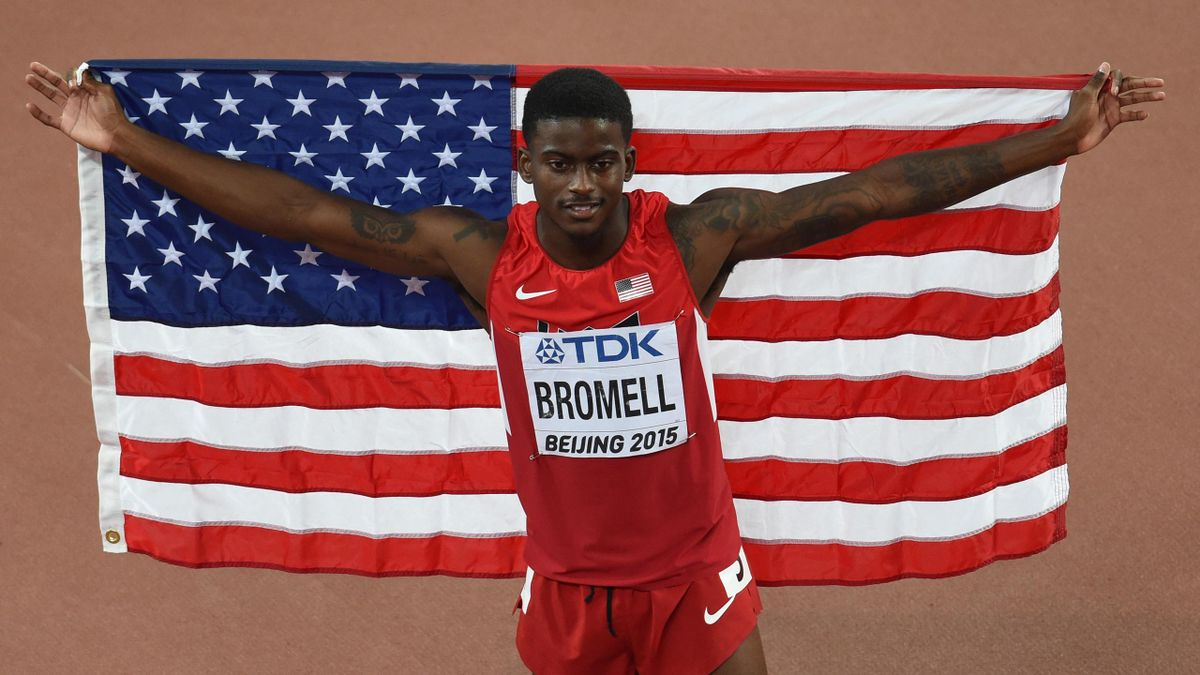 "USA's Trayvon Bromell celebrates after the final of the men's 100 metres athletics event at the 2015 IAAF World Championships at the ""Bird's Nest"" National Stadium in Beijing on August 23, 2015."