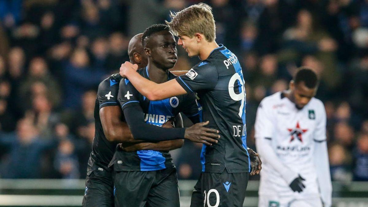 L'esultanza dei giocatori del Bruges