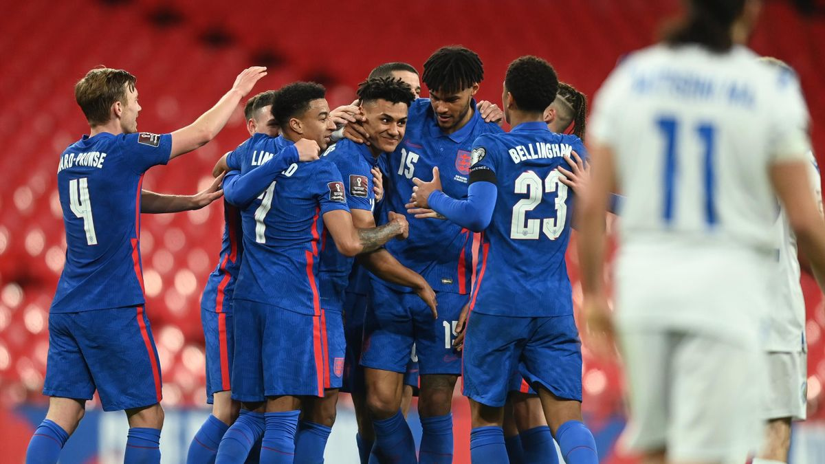 Ollie Watkins of England celebrates with teammates after scoring their team's fifth goal during the FIFA World Cup 2022 Qatar qualifying match between England and San Marino at Wembley Stadium