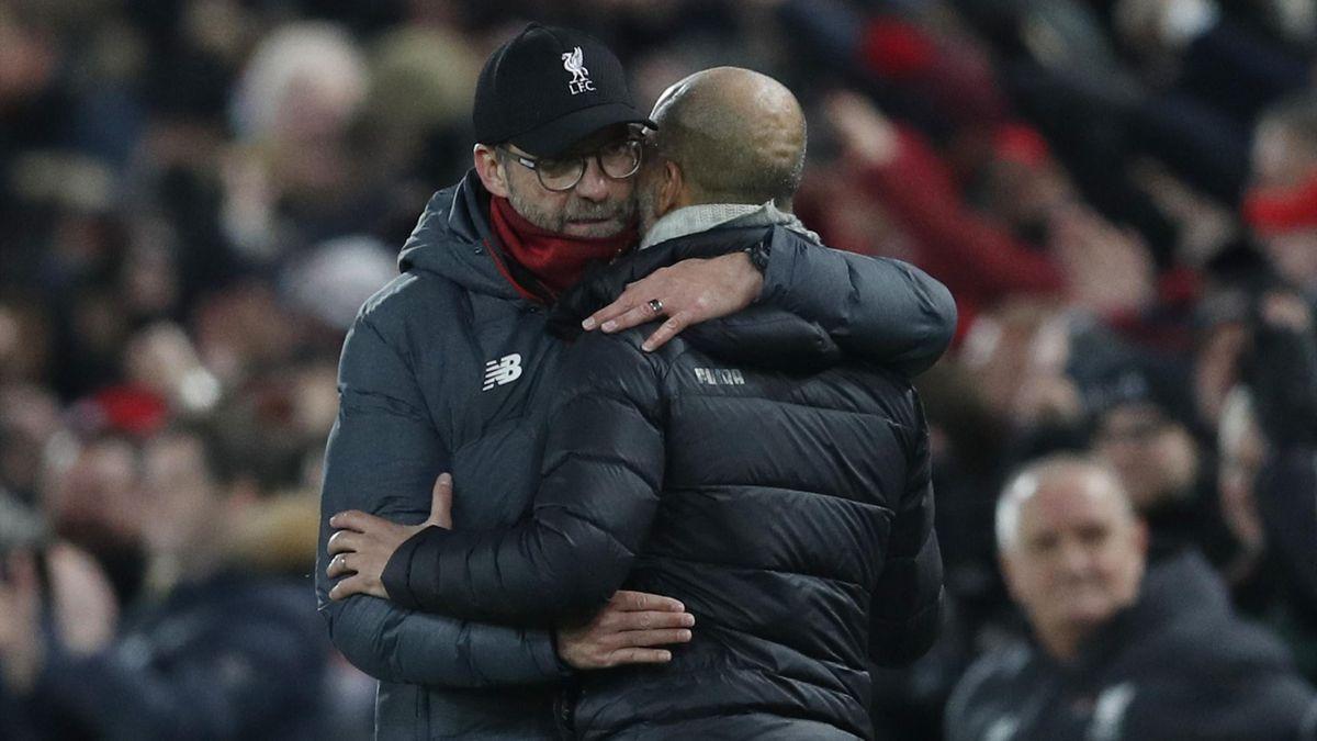 Jürgen Klopp (FC Liverpool, links) - Pep Guardiola (Manchester City, rechts)