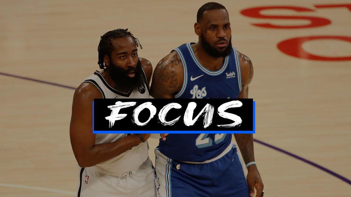 LeBron James e James Harden, Lakers-Nets, focus