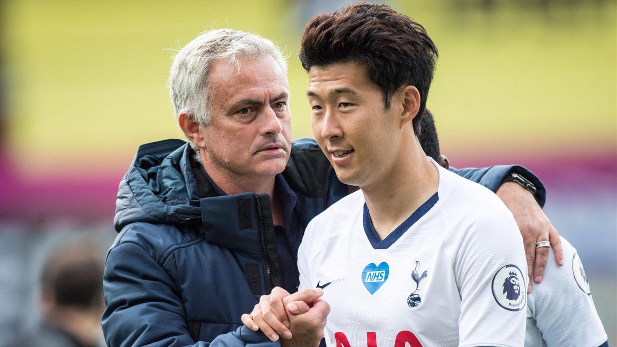 José Mourinho und Heung-min Son von den Tottenham Hotspur