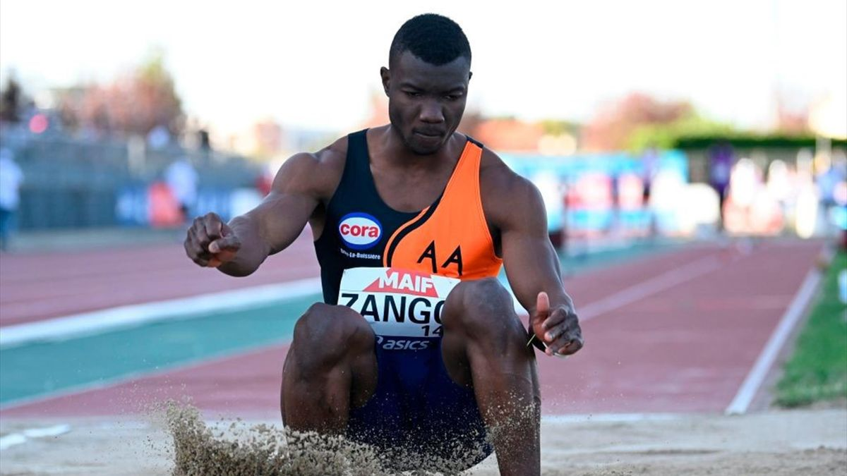 Burkinabe's Hugues Zango competes in the men triple jump final at the 2020 French Athletics Championships at the municipal stadium in Albi, south-western France, on September 12, 2020