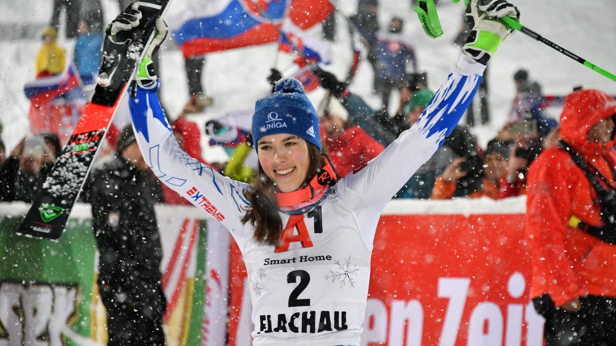 Slovakias Petra Vlhova reacts after winning the women's FIS Alpine Skiing World Cup slalom event in Flachau, Austria on January 8, 2019