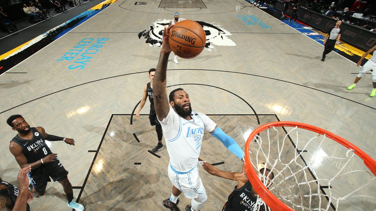 Andre Drummond #2 of the Los Angeles Lakers dunks the ball during the game against the Brooklyn Nets on April 10, 2021
