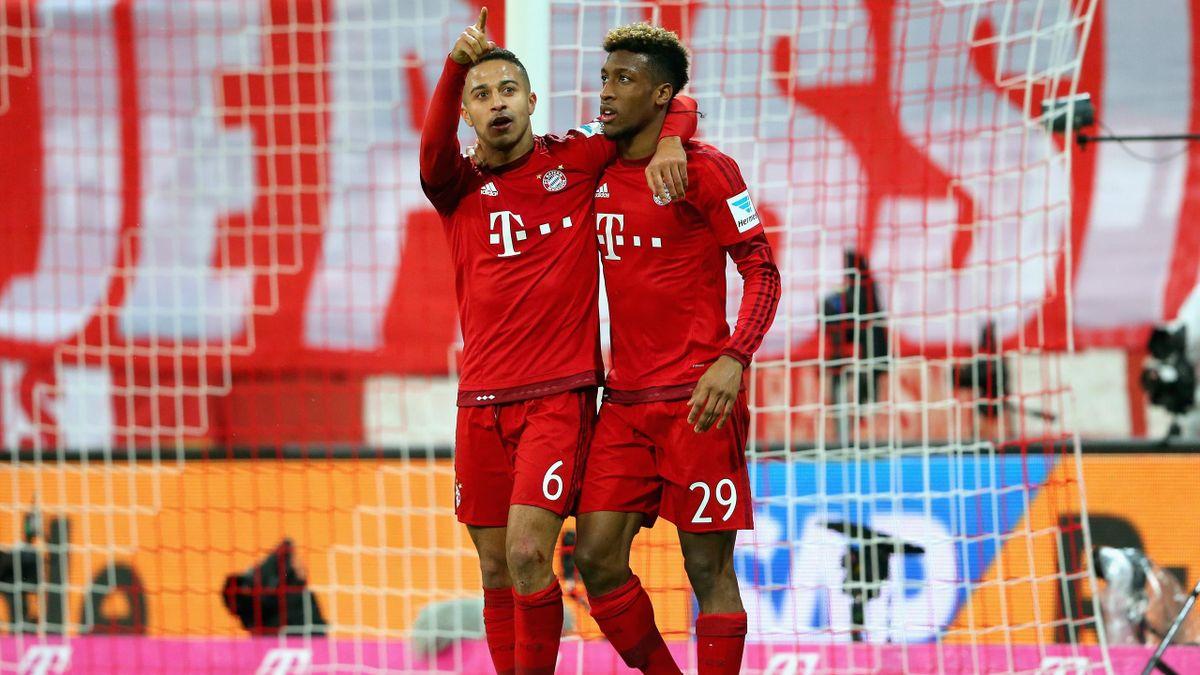 Thiago (l.) und Kingsley Coman (r.) beim FC Bayern