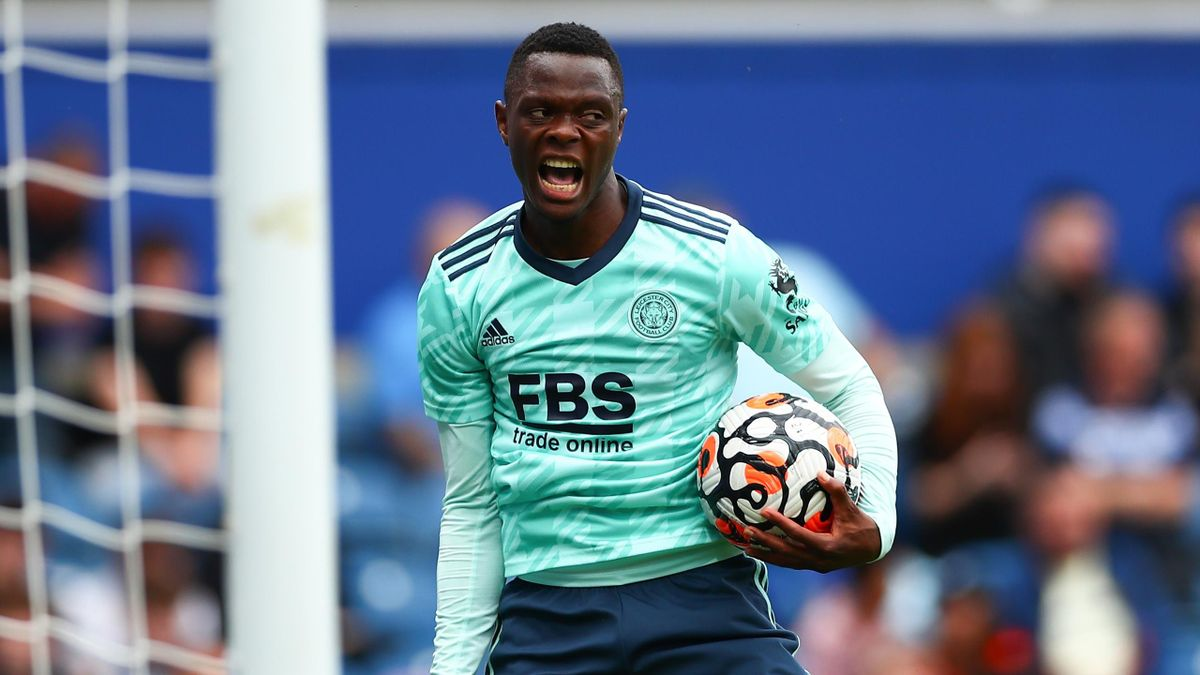 Patson Daka of Leicester City celebrates after scoring his team's second goal during the Pre-Season Friendly match between Queens Park Rangers and Leicester City at The Kiyan Prince Foundation Stadium on July 31, 2021 in London, England.