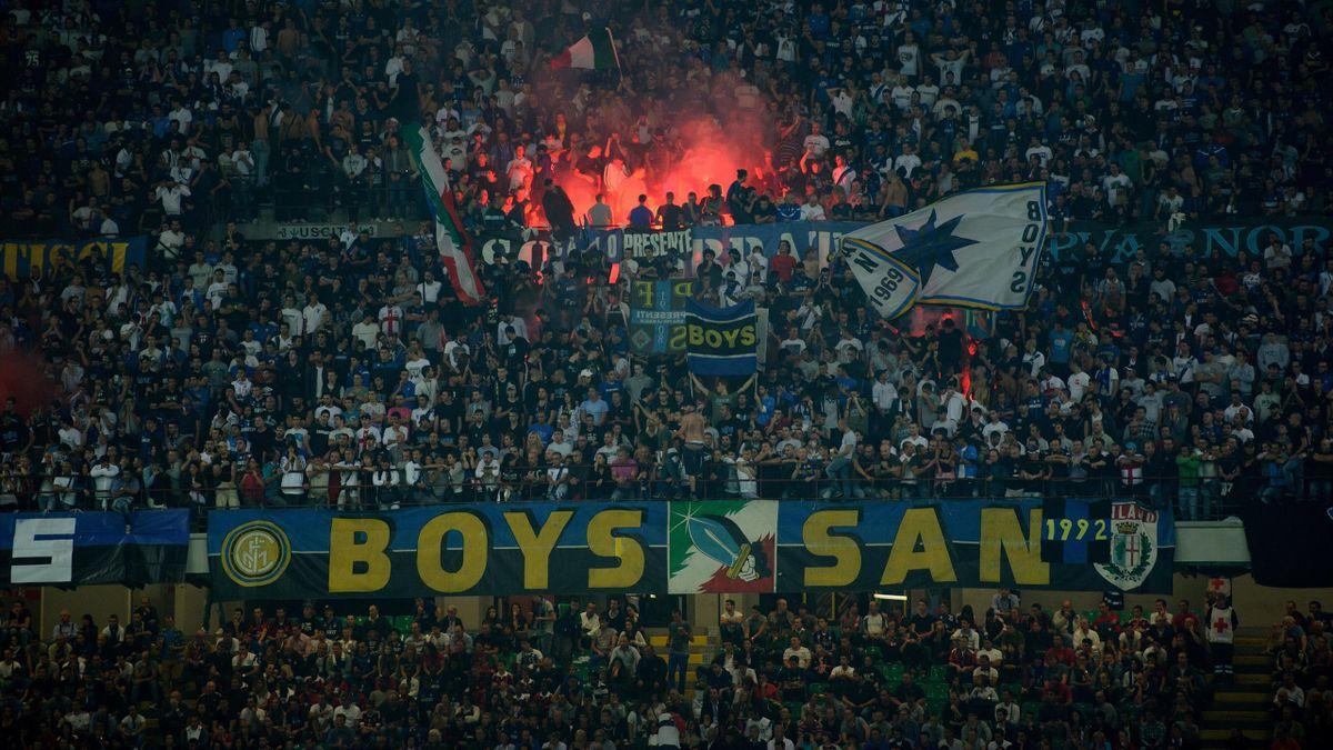 La Curva Nord occupata dagli ultras dell'Inter