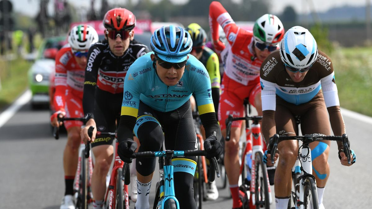 Rodrigo Contreras of Colombia and Astana Pro Team / Geoffrey Bouchard of France and Team Ag2R La Mondiale / Breakaway / during the 103rd Giro d'Italia 2020, Stage 13 a 192km stage from from Cervia to Monselice / @girodiitalia / #Giro / on October 16, 2020