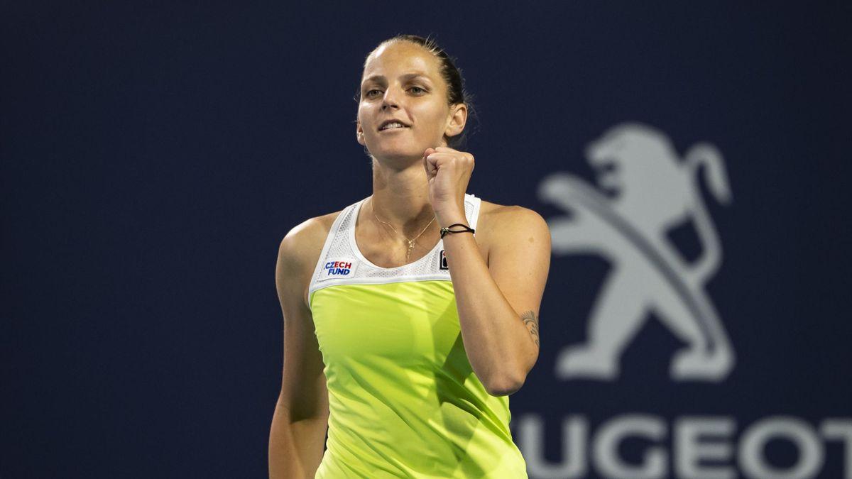Karolina Pliskova célèbre sa victoire face à Simona Halep en demi-finale du tournoi de Miami