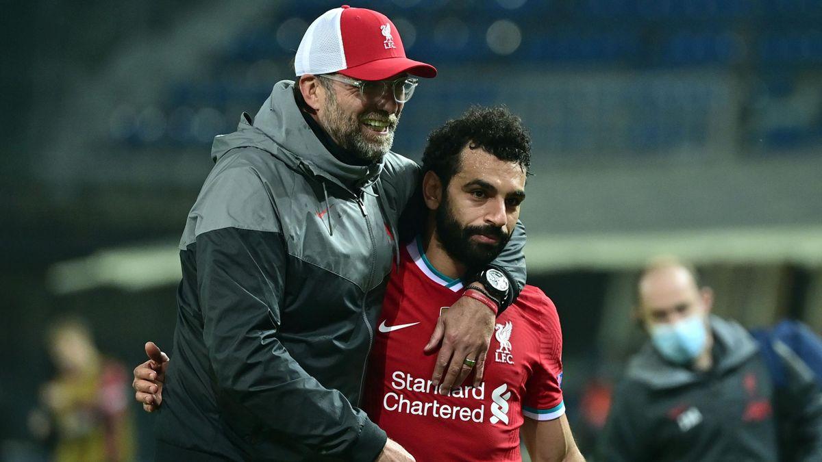 Jürgen Klopp (l.) mit Mohamed Salah