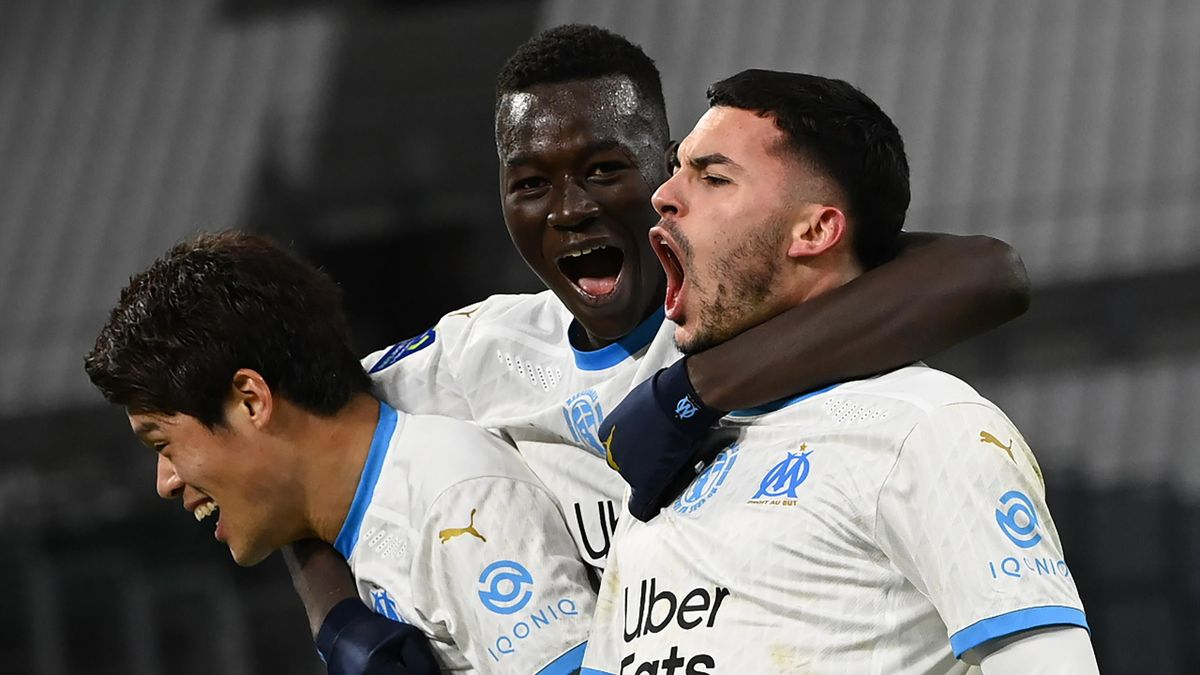 La joie de Nemanja Radonjic, buteur lors du match opposant Marseille à Montpellier, le 6 janvier 2021 en Ligue 1