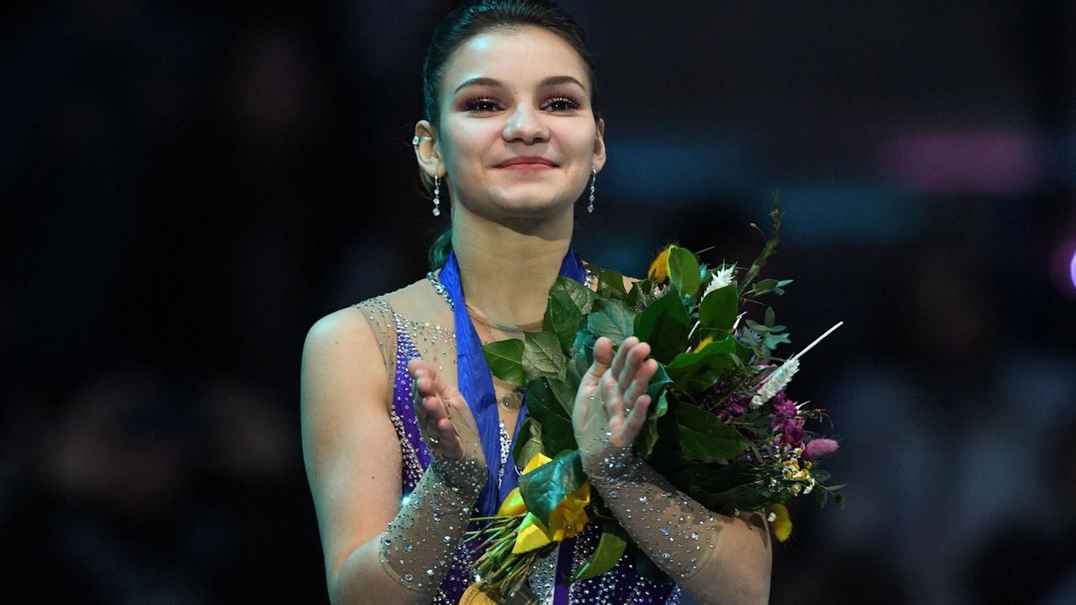 Winner Russias Sofia Samodurova celebrates during the podium ceremony.