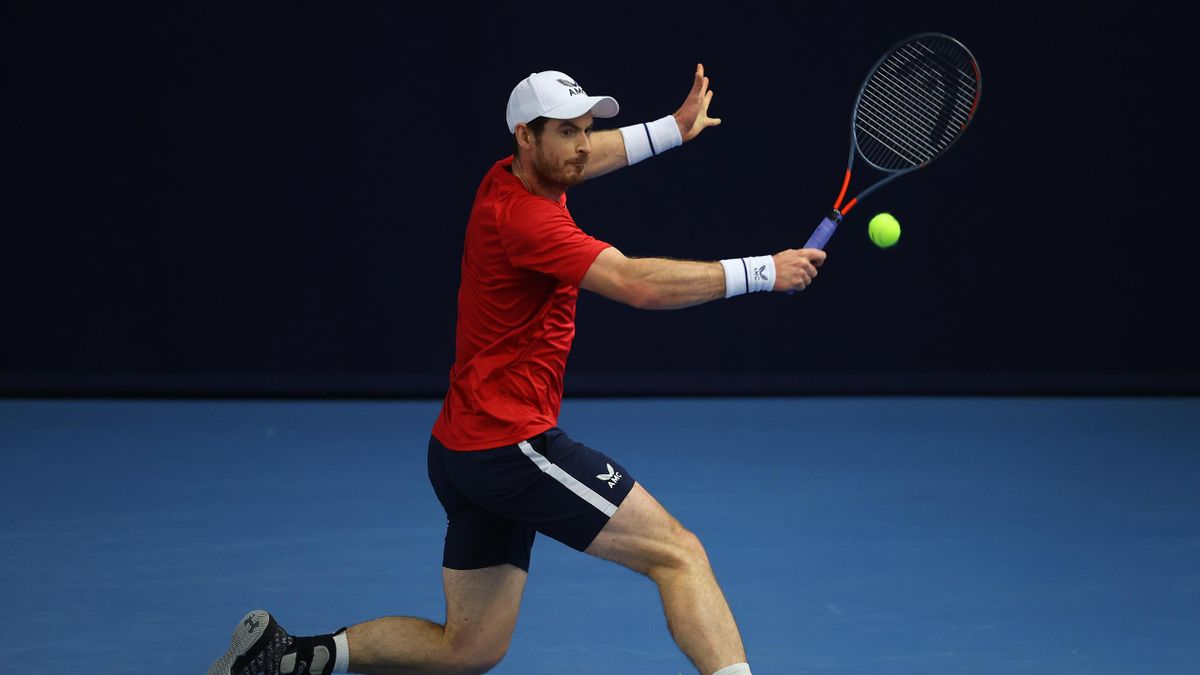 Andy Murray plays a backhand shot during their round robin match against Cameron Norrie during Day Three of the Battle of the Brits Premier League of Tennis at the National Tennis Centre on December 22, 2020 in London, England