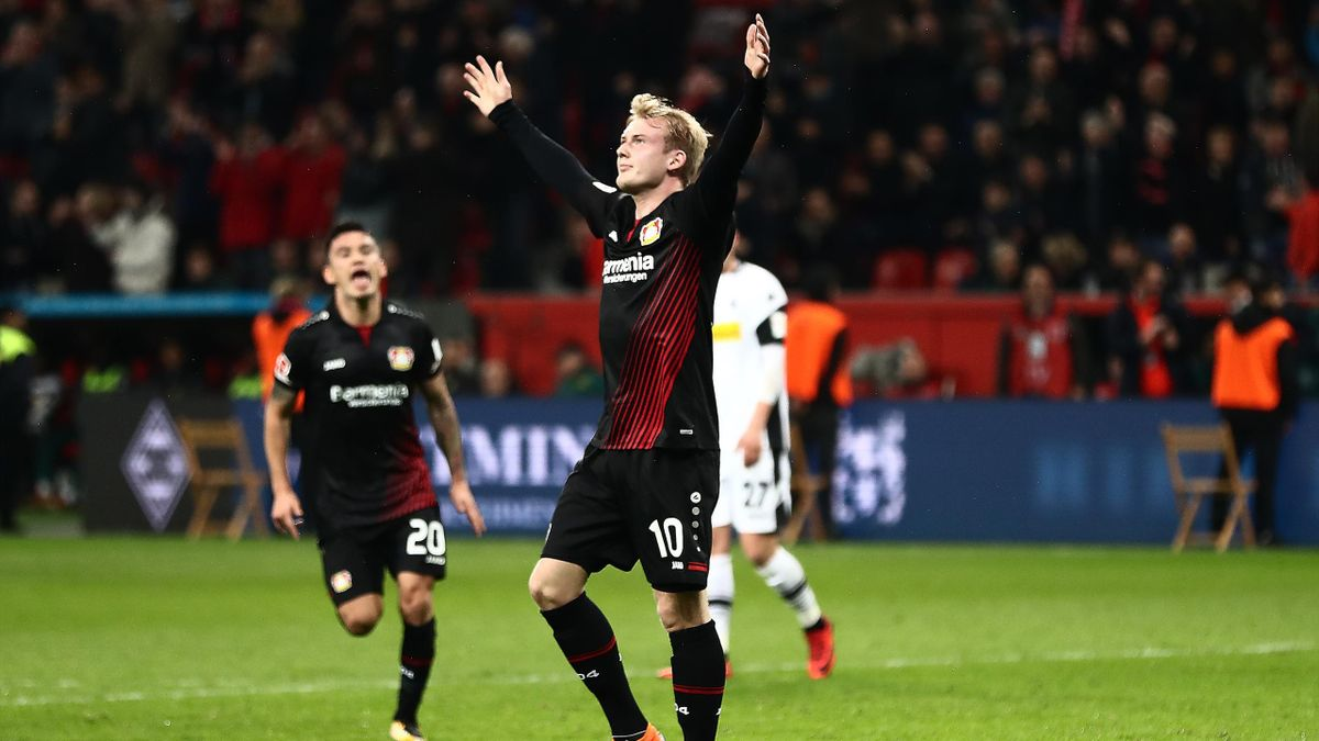 Julian Brandt of Bayer Leverkusen (10) celebrates after he scored a goal to make it 2:0 during the Bundesliga match between Bayer 04 Leverkusen and Borussia Moenchengladbach at BayArena