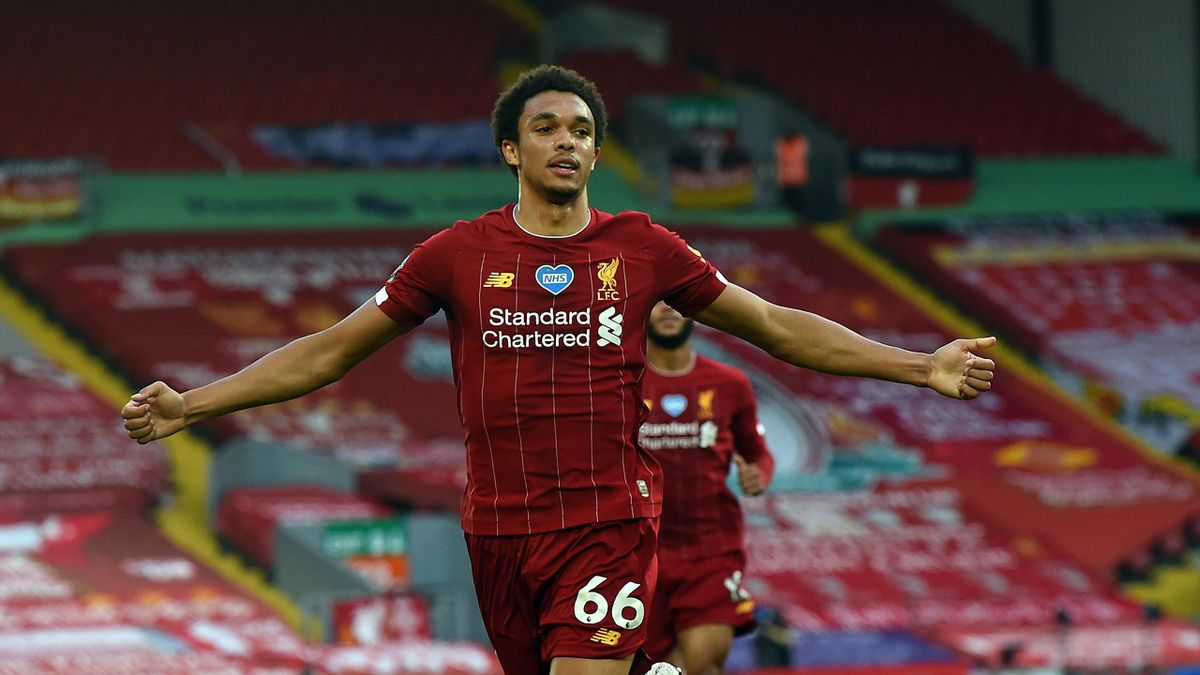 Trent Alexander-Arnold of Liverpool Celebrates after putting liverpool ahead during the Premier League match between Liverpool FC and Crystal Palace at Anfield