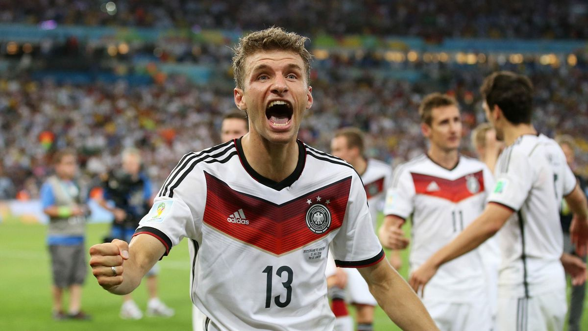 Germany's Thomas Muller celebrates after victory