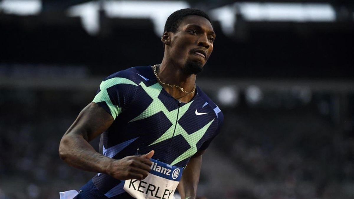 Fred Kerley, vainqueur du 100m de la Ligue de diamant à Bruxelles le 3 septembre 2021