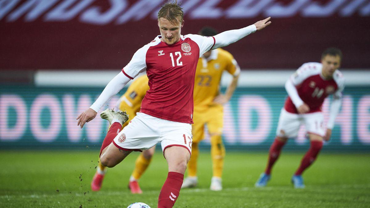 Kasper Dolberg sous les couleurs du Danemark.