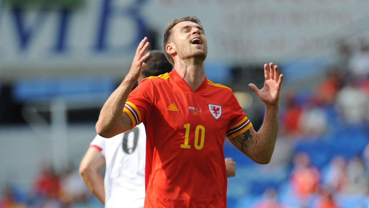 JUNE 05: Wales Aaron Ramsey after missing a chance during the International friendly match between Wales and Albania at Cardiff City Stadium on June 5, 2021 in Cardiff, Wale