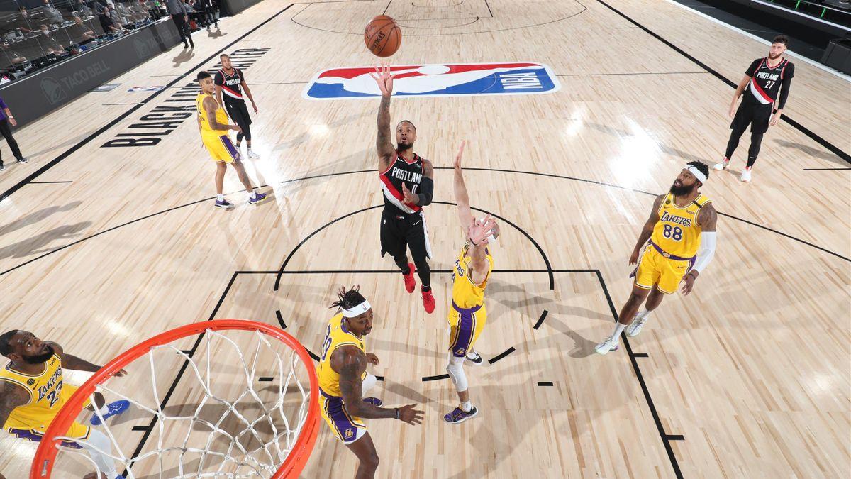 Damian Lillard lors du match 1 entre les Blazers et les Lakers, le 18 août 2020