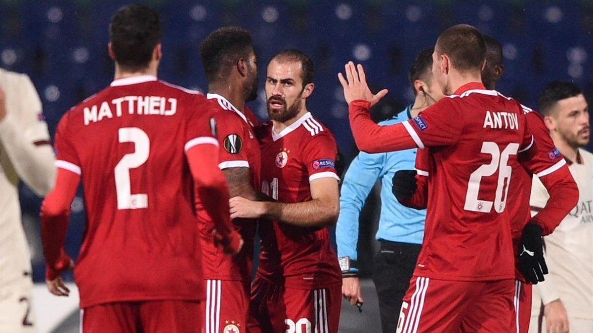 Il CSKA Sofia esulta contro la Roma