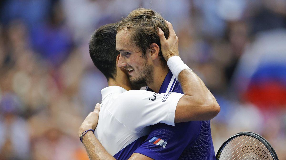 Daniil Medvedev y Novak Djokovic (US Open 2021)