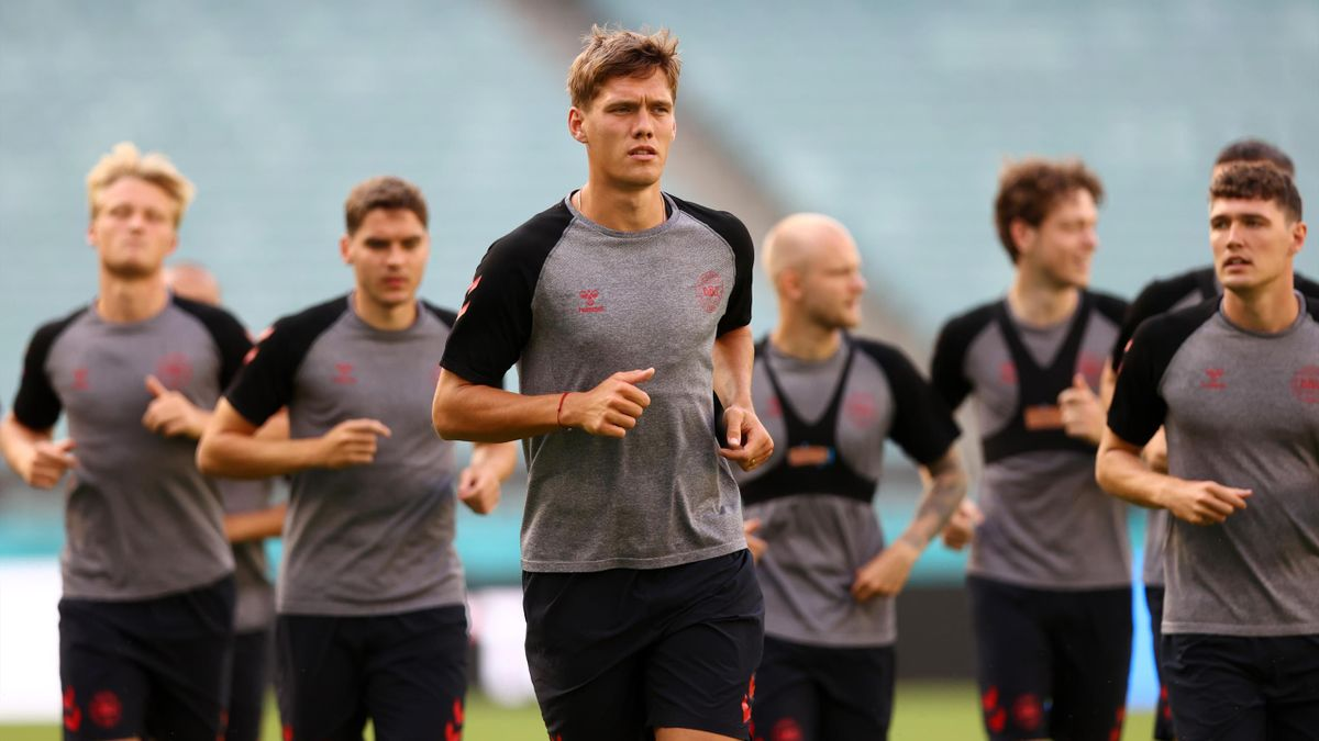 Jannik Vestergaard of Denmark looks on during the Denmark Training Session during the media activities ahead of the UEFA Euro 2020 Quarter Final match between the Czech Republic and Denmark at Baku Olimpiya Stadionu on July 02, 2021 in Baku, Azerbaijan