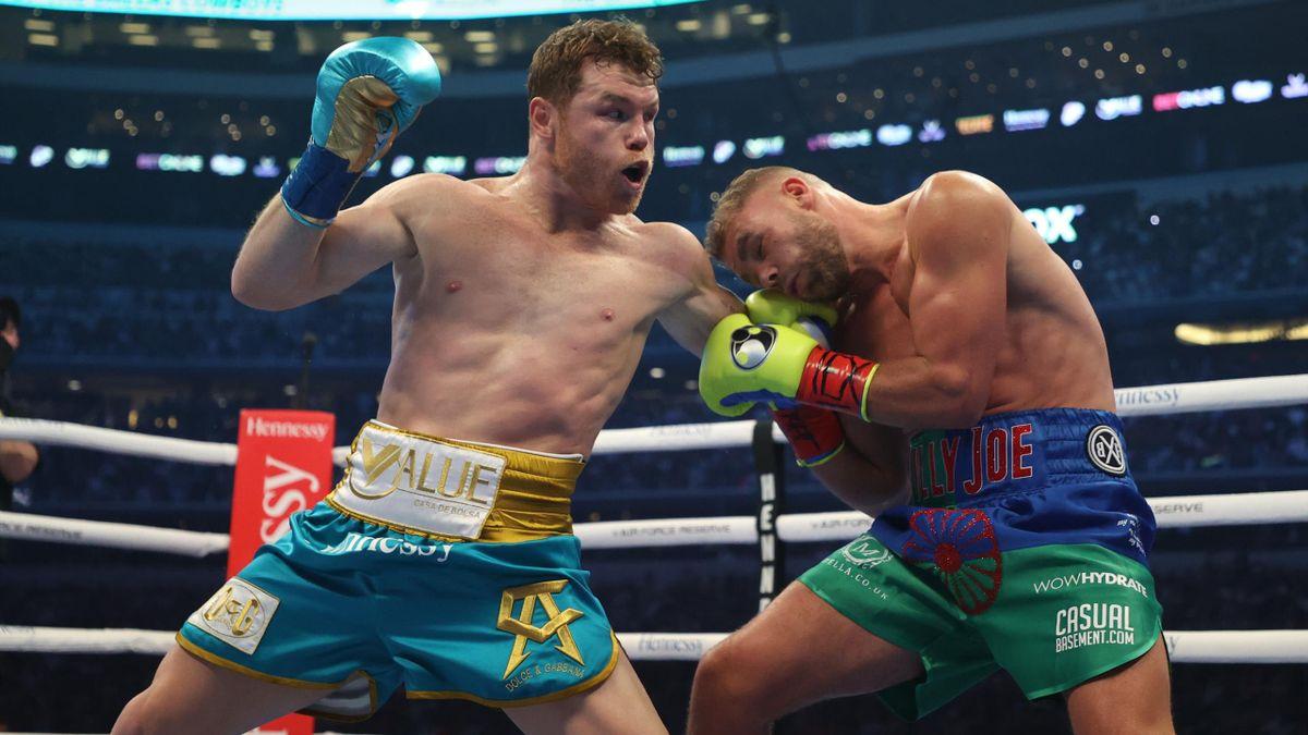 """Le combat entre Saul """"Canelo"""" Alvarez et Billy Joe Saunders, le 8 mai 2021, à l'AT&T Stadium"""