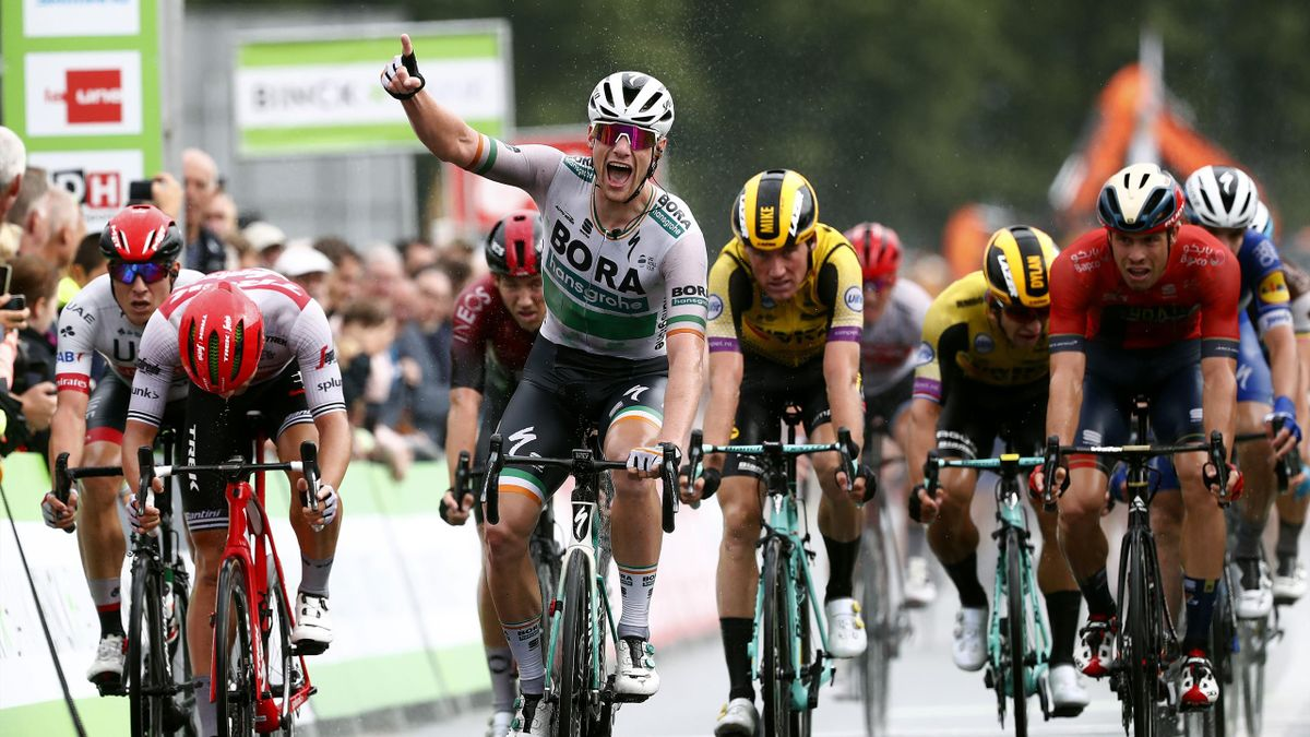 Sam Bennett of Ireland and Team Bora-Hansgrohe / Celebration / Edward Theuns of Belgium and Team Trek-Segafredo / Mike Teunissen of The Netherlands and Team Jumbo-Visma / Jasper Philipsen of Belgium and UAE Team Emirates / Phil Bauhaus of Germany and Team