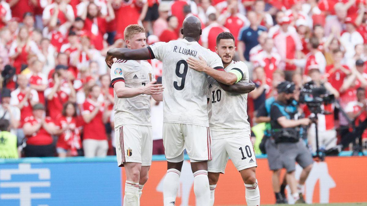 Belgium's Kevin De Bruyne, Belgium's Romelu Lukaku and Belgium's Eden Hazard celebrate after winning a second game of the group stage (group B) at UEFA Euro 2020 championships between Belgian national soccer team Red Devils and Denmark, in Copenhagen, Den