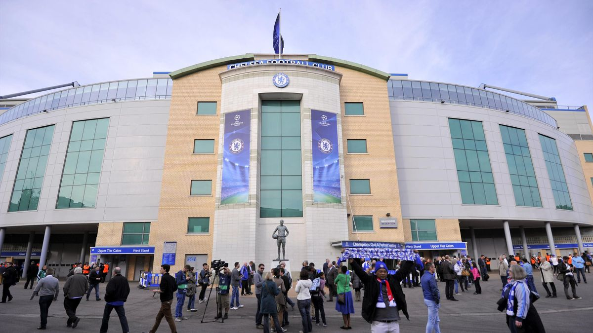 Fans arrive at Stamford Bridge in London  for a match at Chelsea's stadium