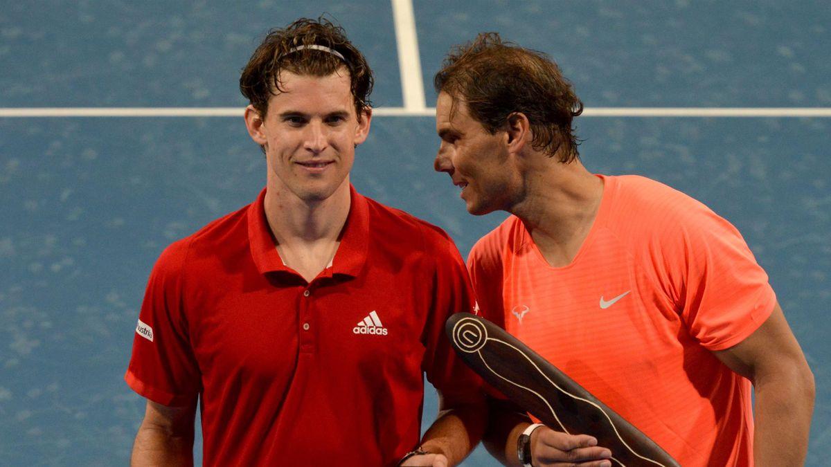 Dominic Thiem (L) and Rafael Nadal (R)