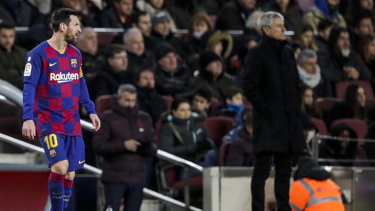 Lionel Messi et Quique Setien lors de Barça-Grenade