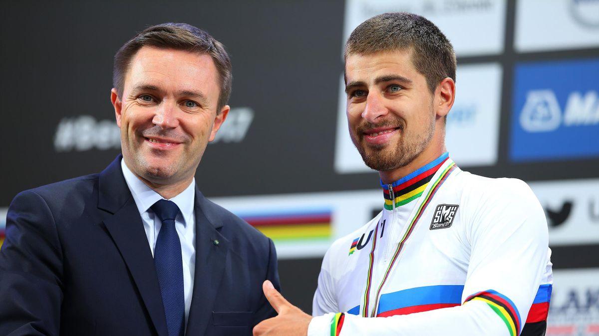 UCI-president David Lappartient sammen med Peter Sagan under sykkel-VM i Bergen i 2017